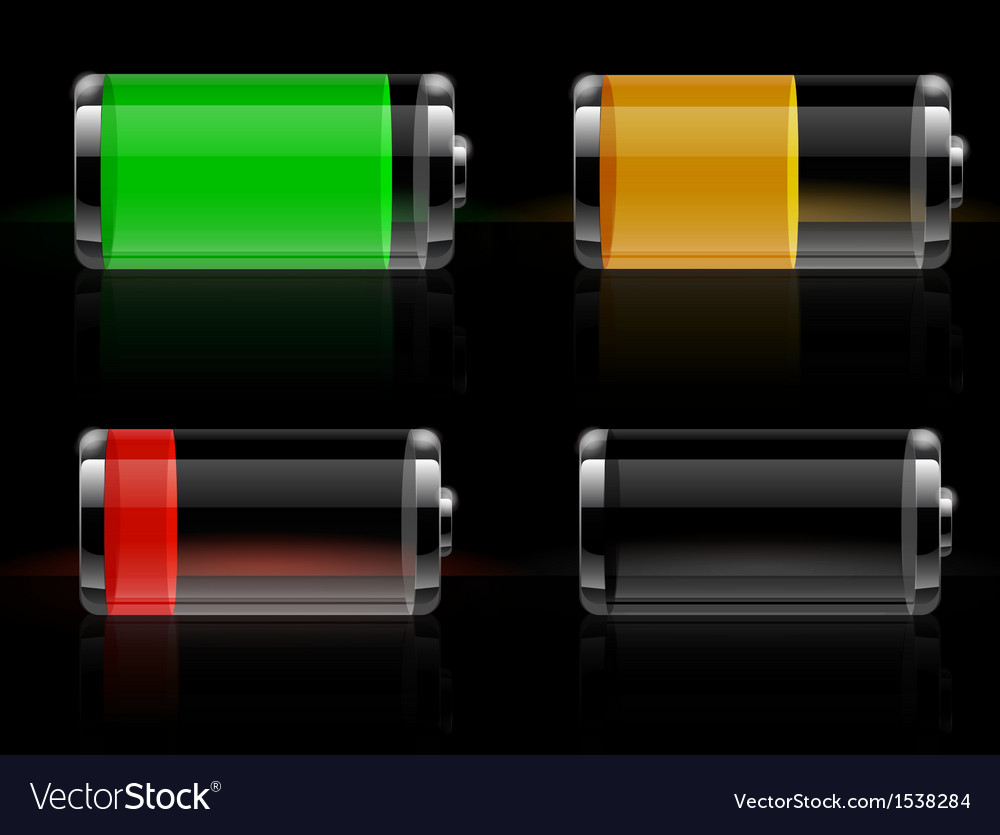 glossy transparent battery icons set royalty free vector vectorstock