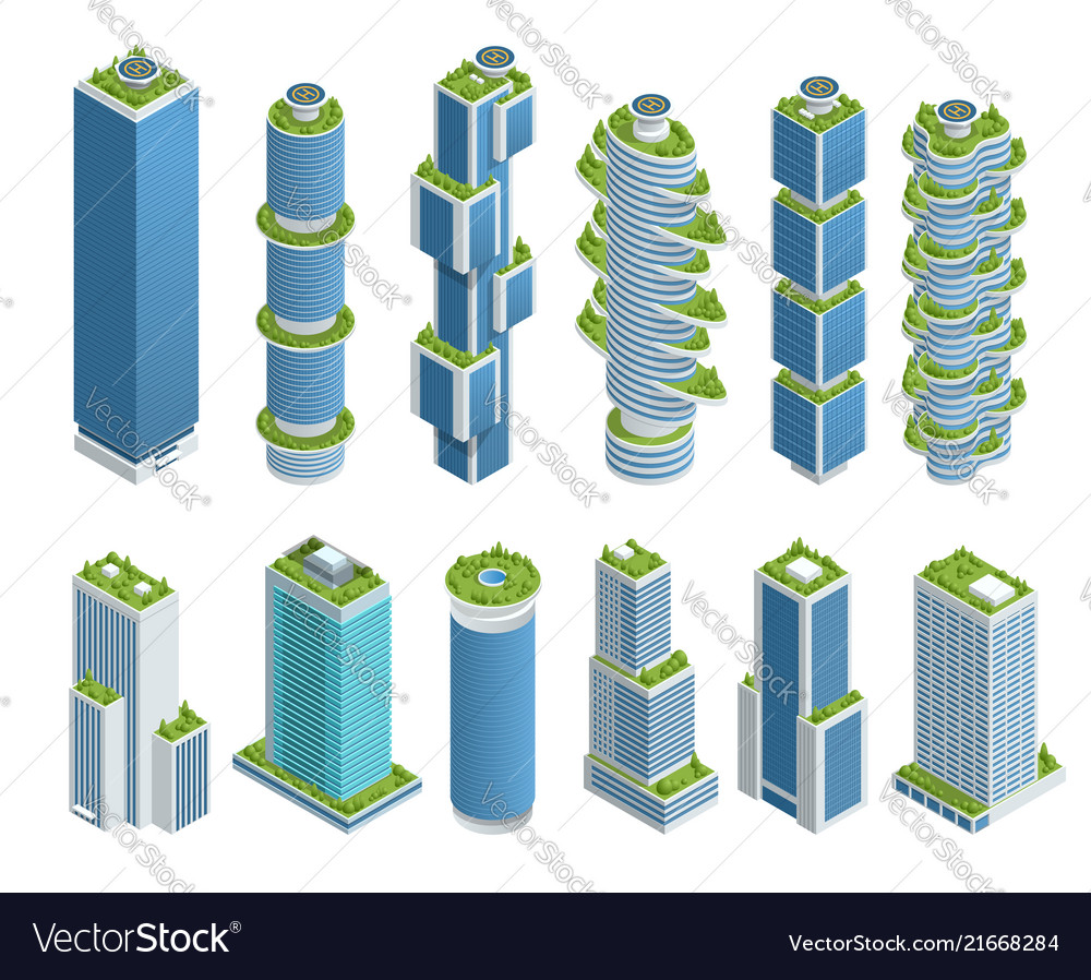 Isometric set of modern ecologic skyscraper with