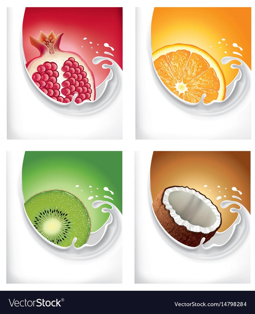 Milk splash with exotic kiwi pomegranate orange vector image