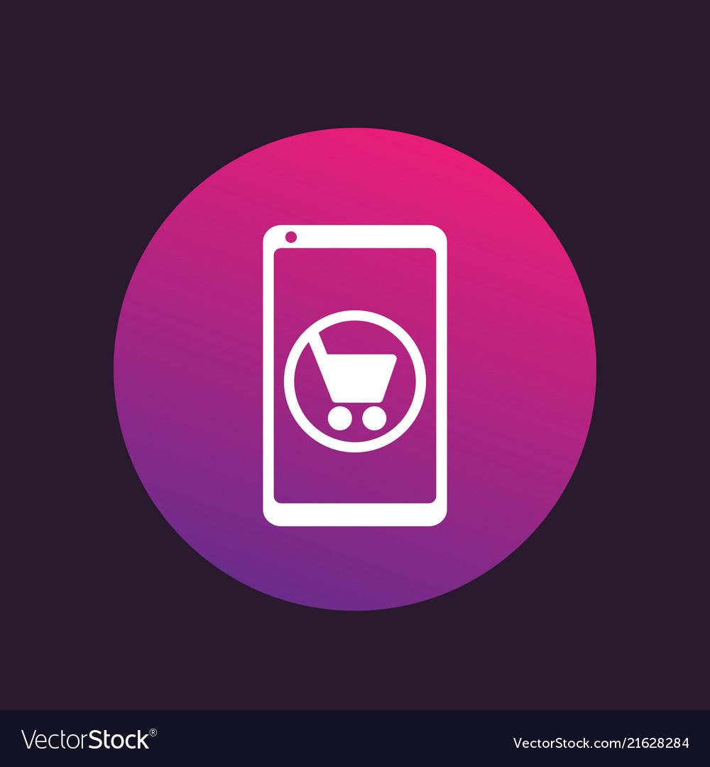 Mobile shopping e-commerce icon