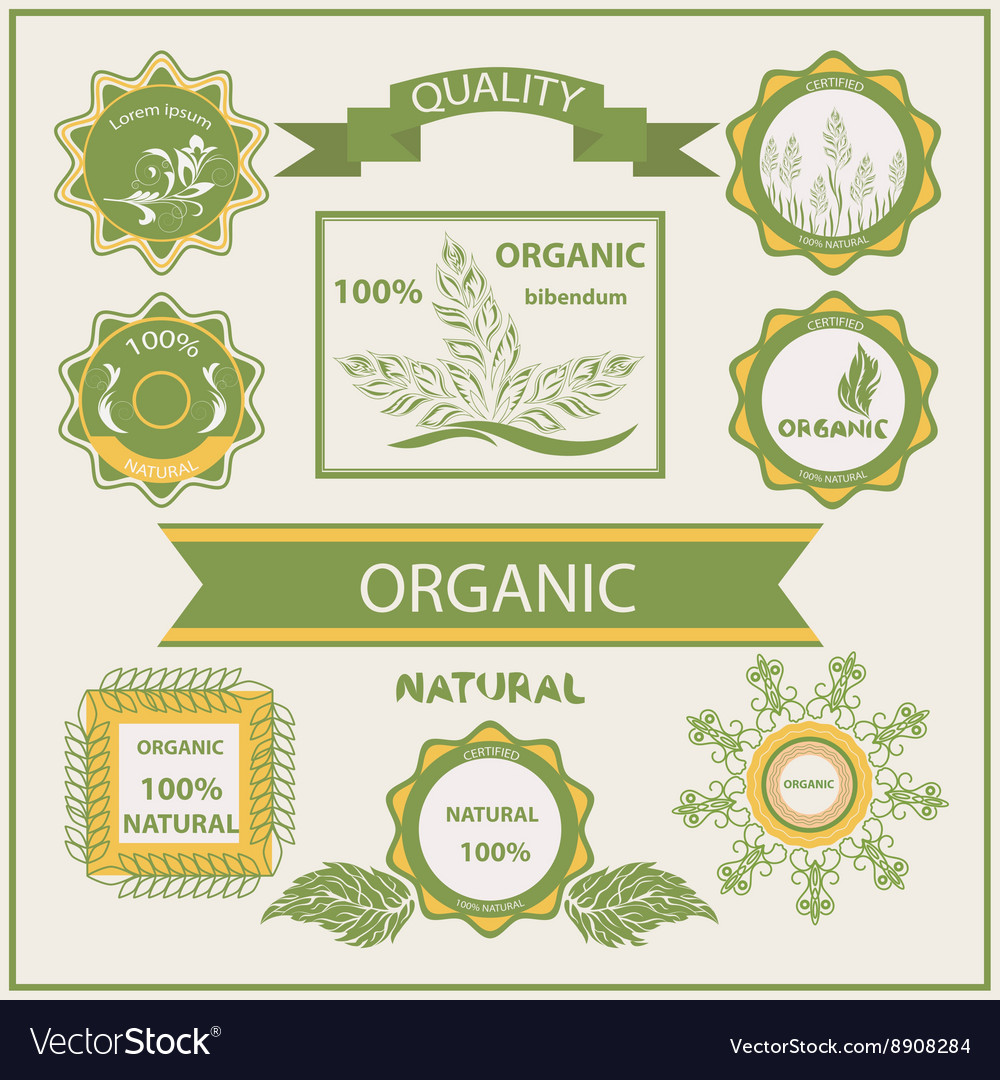 Organic products labels logo