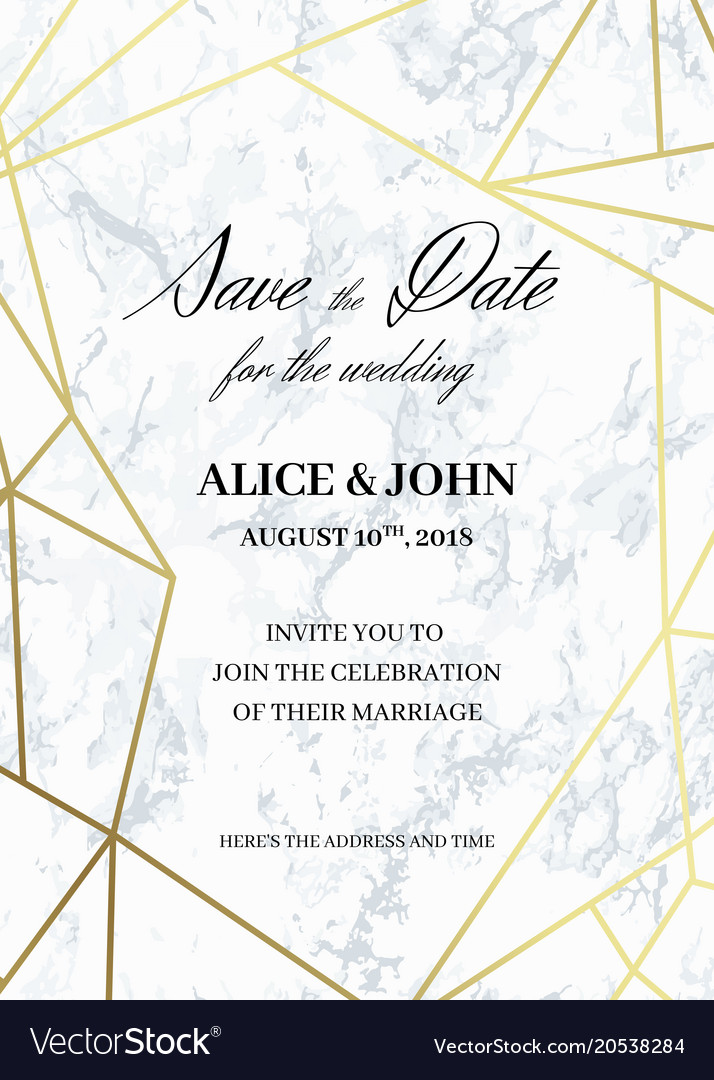 Save The Date Card Template Of Geometric Design Vector Image