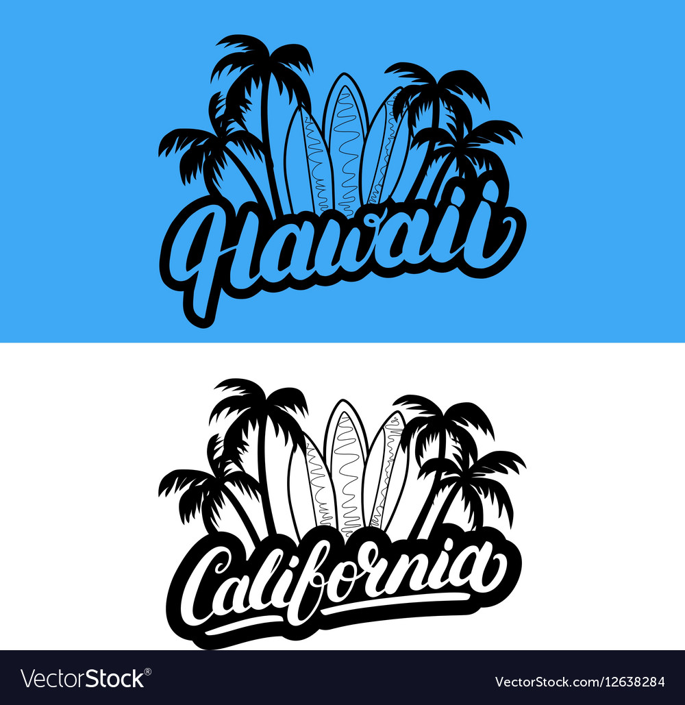 Set hawaii and california hand written
