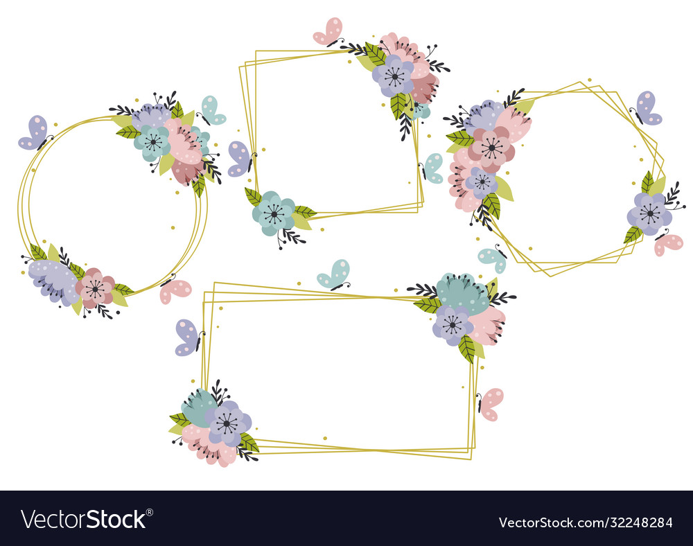Set isolated floral geometric gold frames