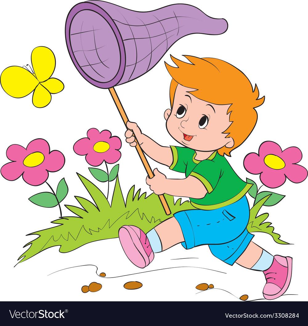 Девочка ловит бабочку картинка