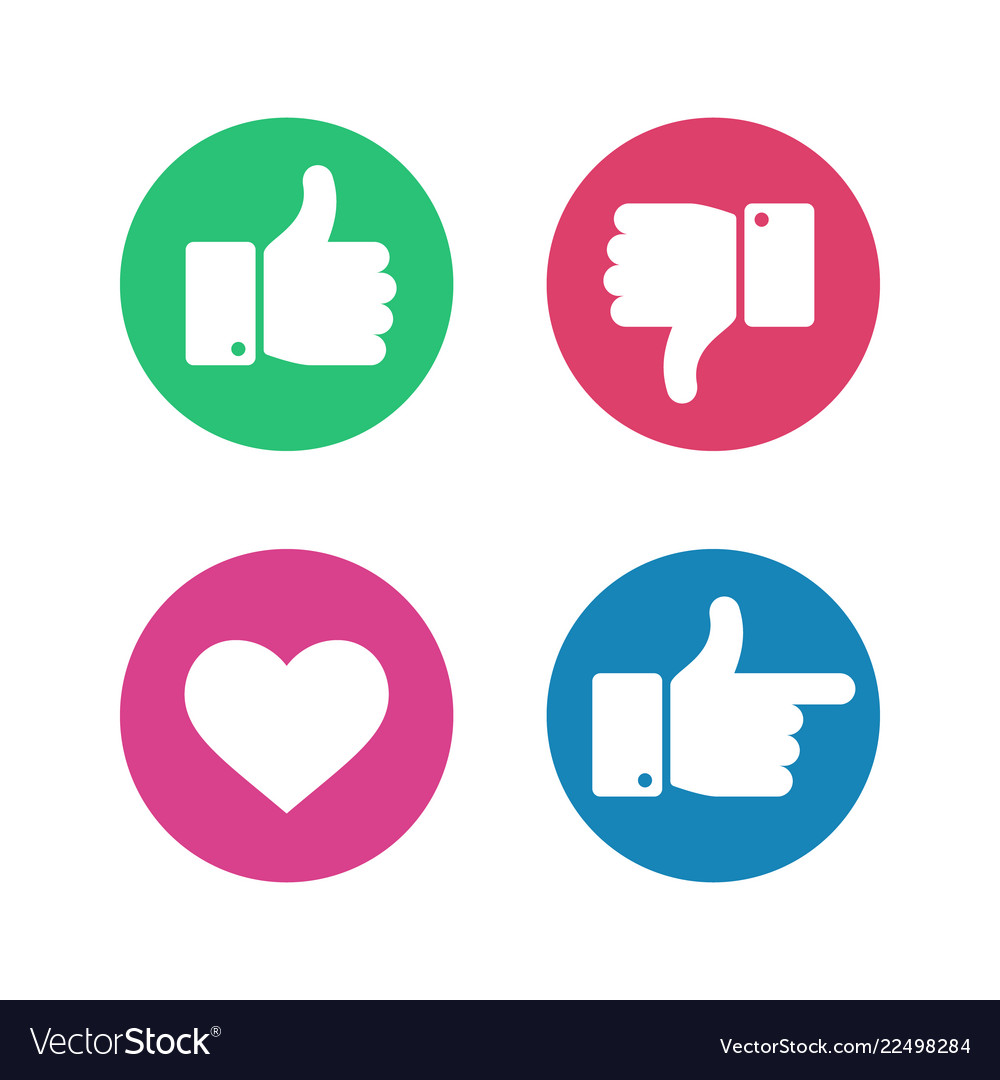 Thumbs up down sign point finger and heart icons