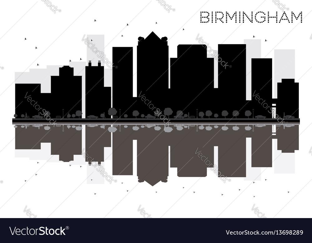 Birmingham city skyline black and white vector image