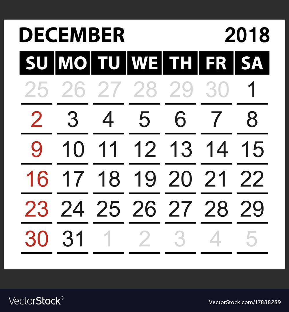 calendar page december 2018