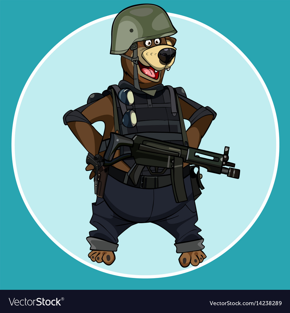 Cartoon bear standing with arms akimbo