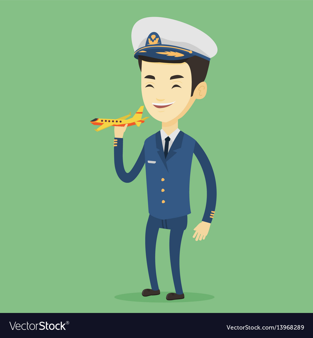 Cheerful airplane pilot with model of airplane