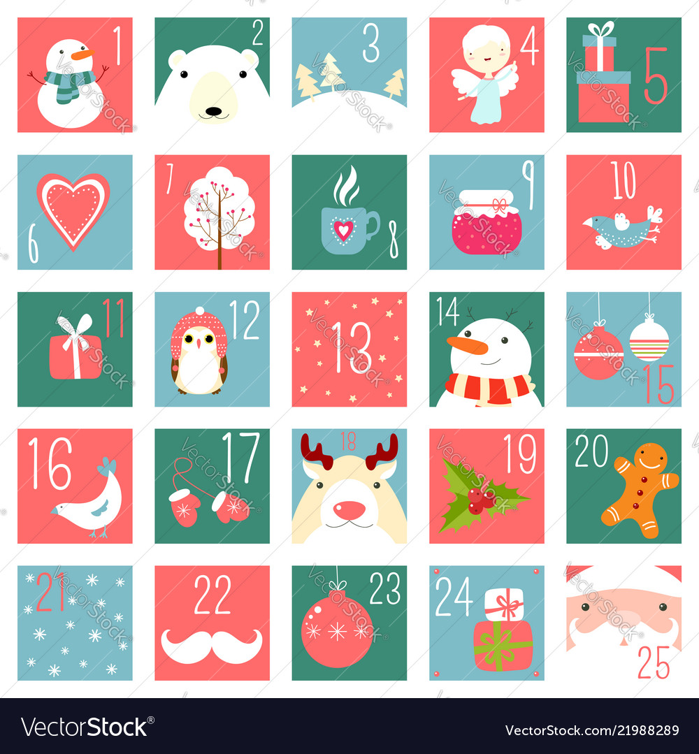 Christmas advent calendar with elements in naive