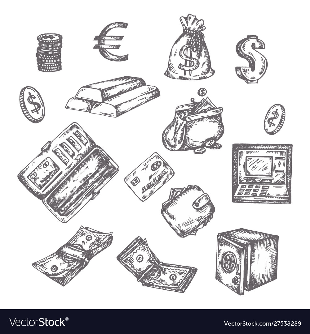 Finance money set hand drawn finance