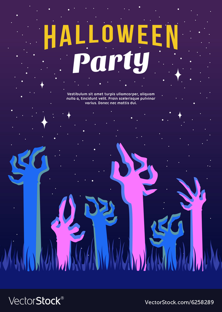 halloween party flyer or poster template with vector image