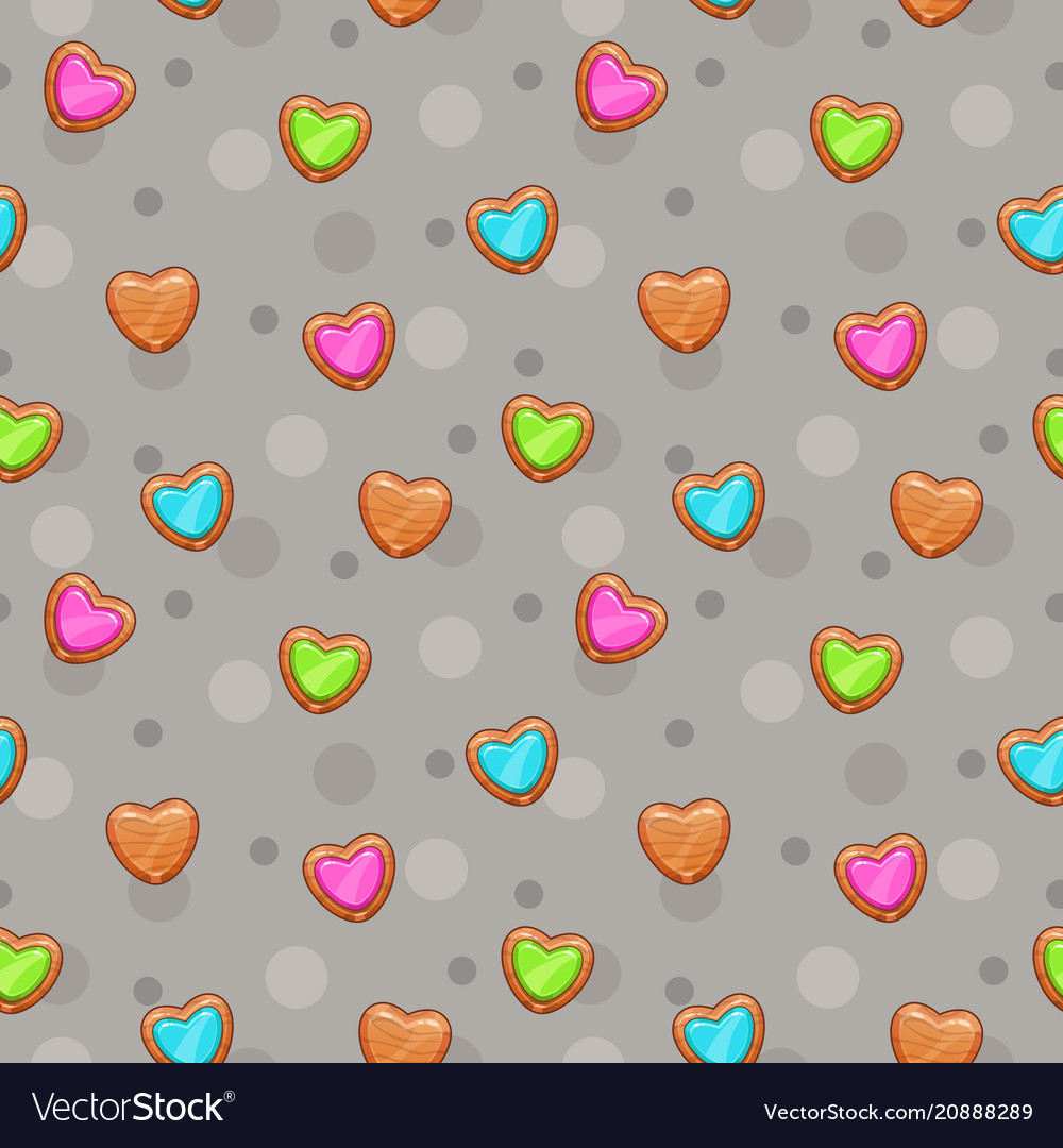 Seamless pattern with cute wooden hearts
