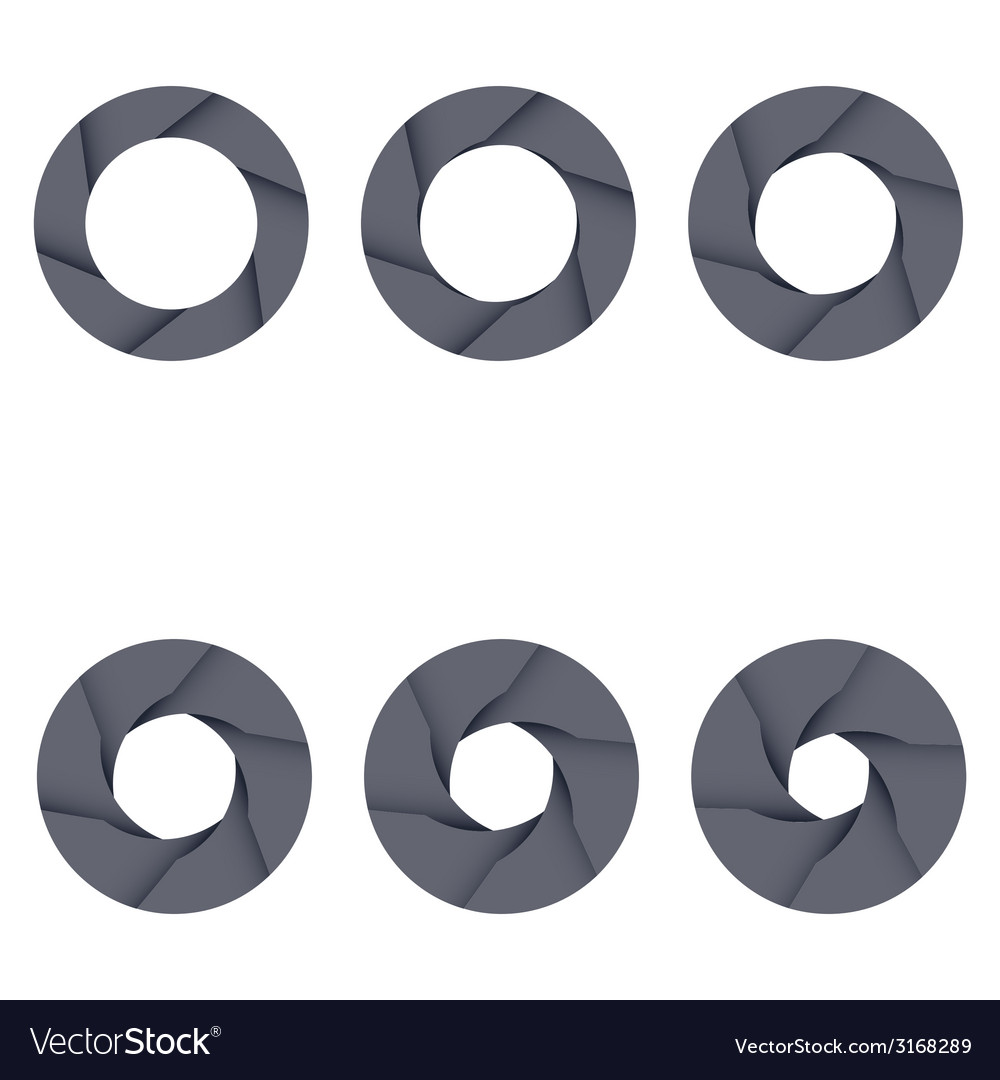 Set of black camera shutter icons on white