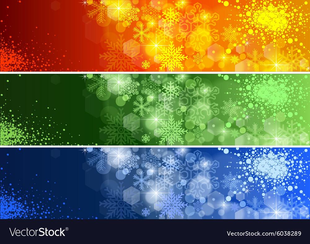 Set of Defocused Christmas Banner vector image