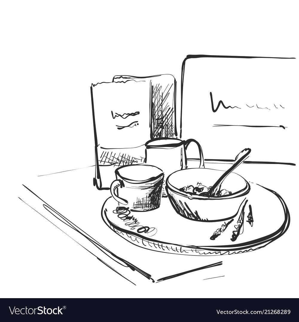 Sketch Breakfast Plate Porridge And Cup Of Vector Image