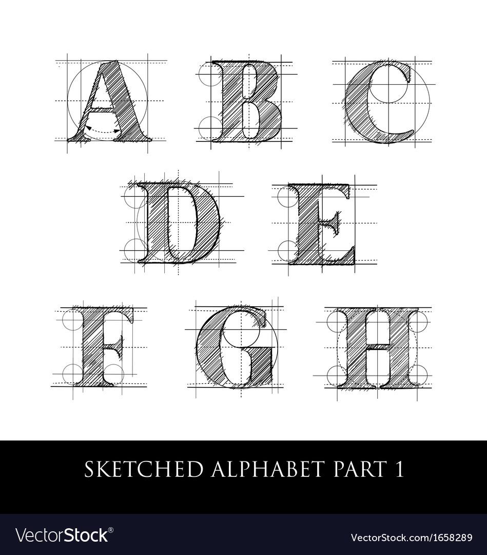 Sketched diagram alphabet set 1 vector image