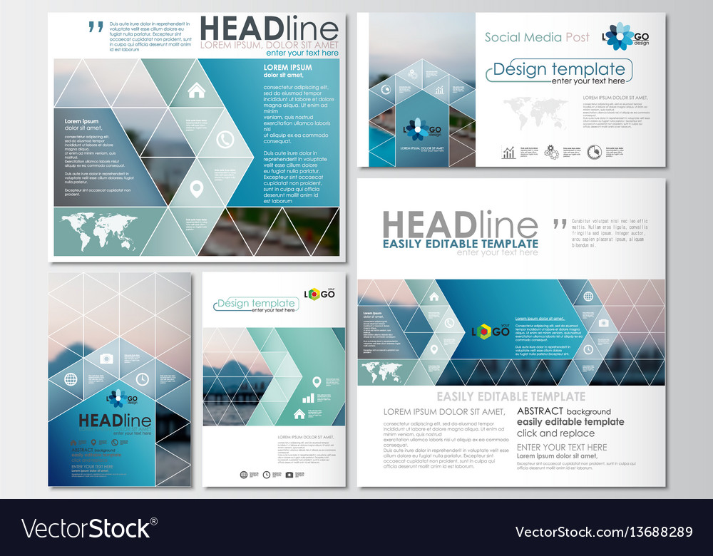 Social media posts set business templates cover vector image