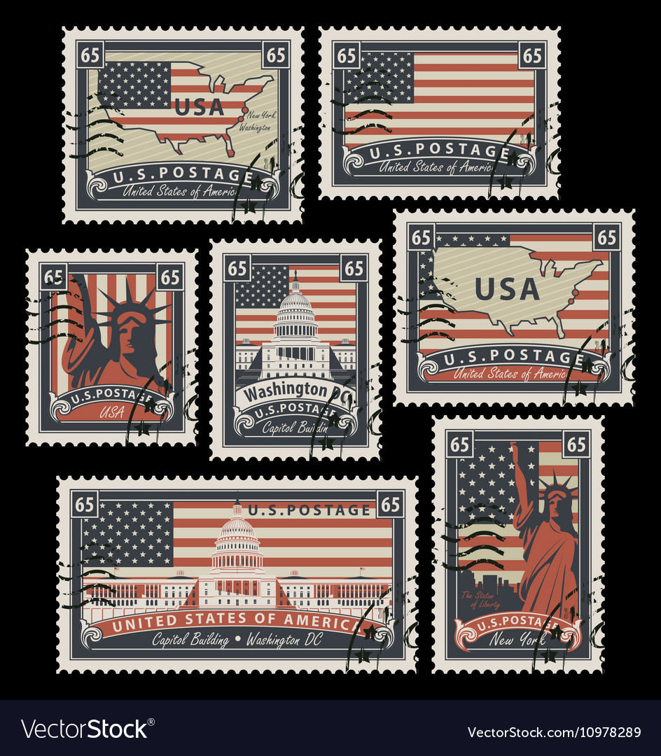 Stamps with america landmarks