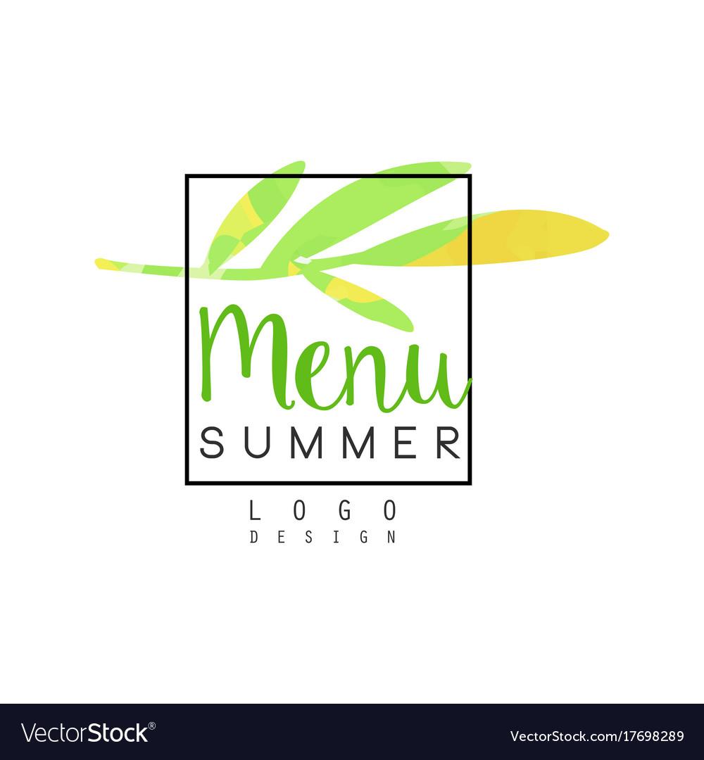 Summer menu logo design badge for healthy food vector image