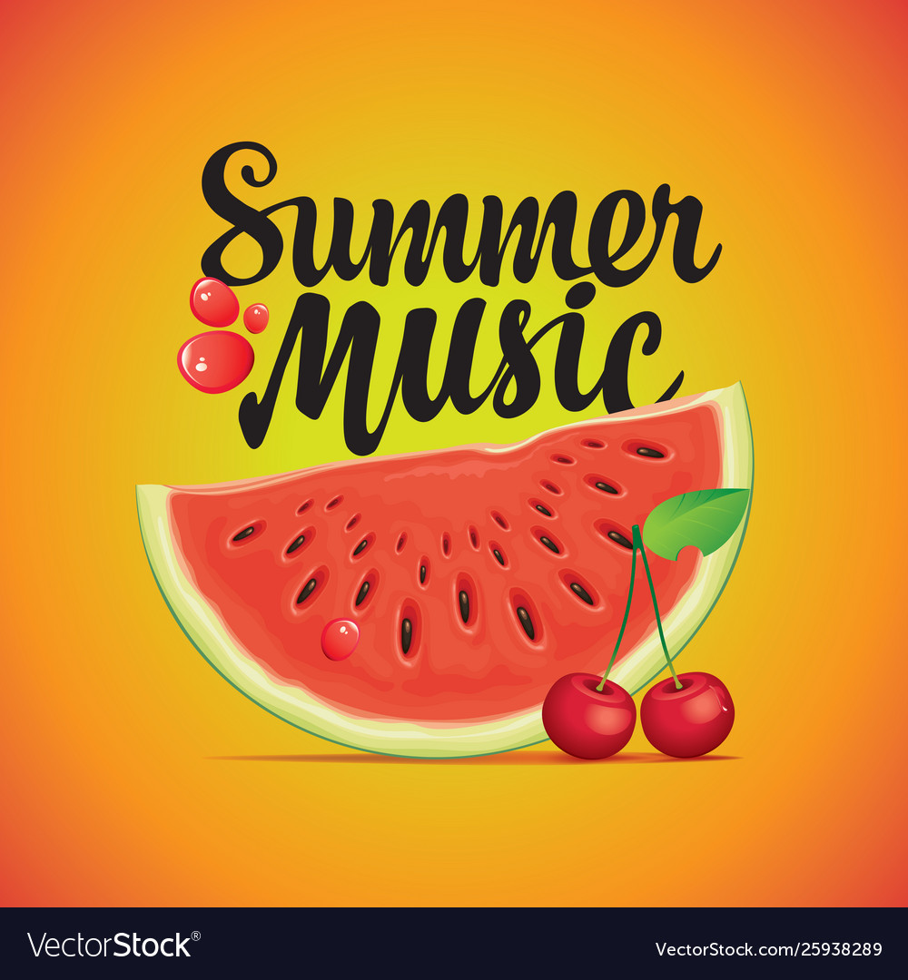 Summer music banner with watermelon and cherry