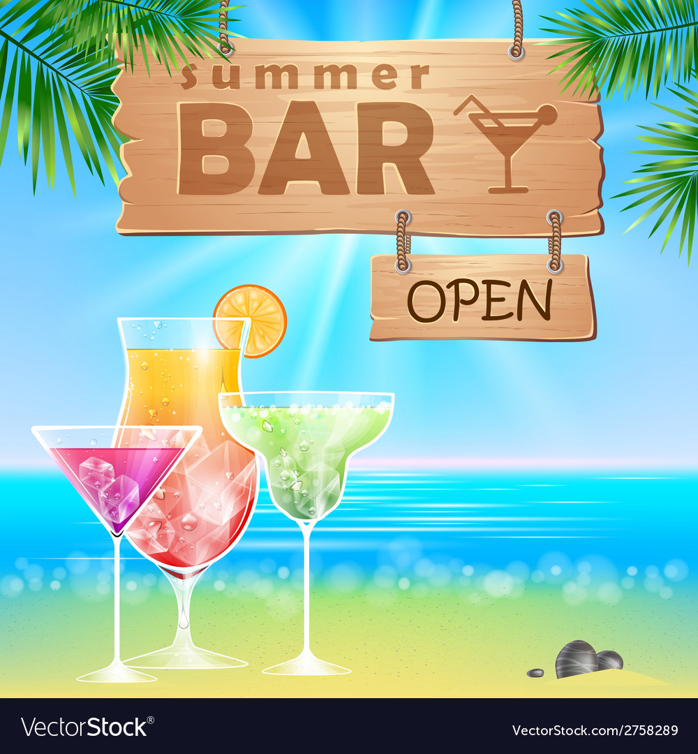 Summer seaside view poster Cocktails bar