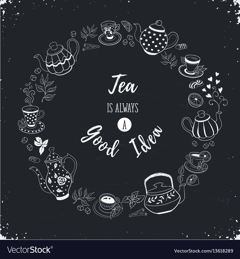 Tea time poster vector image