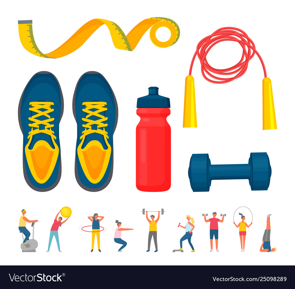 Training equipment sporty people fitness