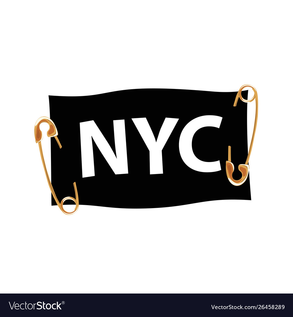Typography slogan nyc with pins and ribbon t