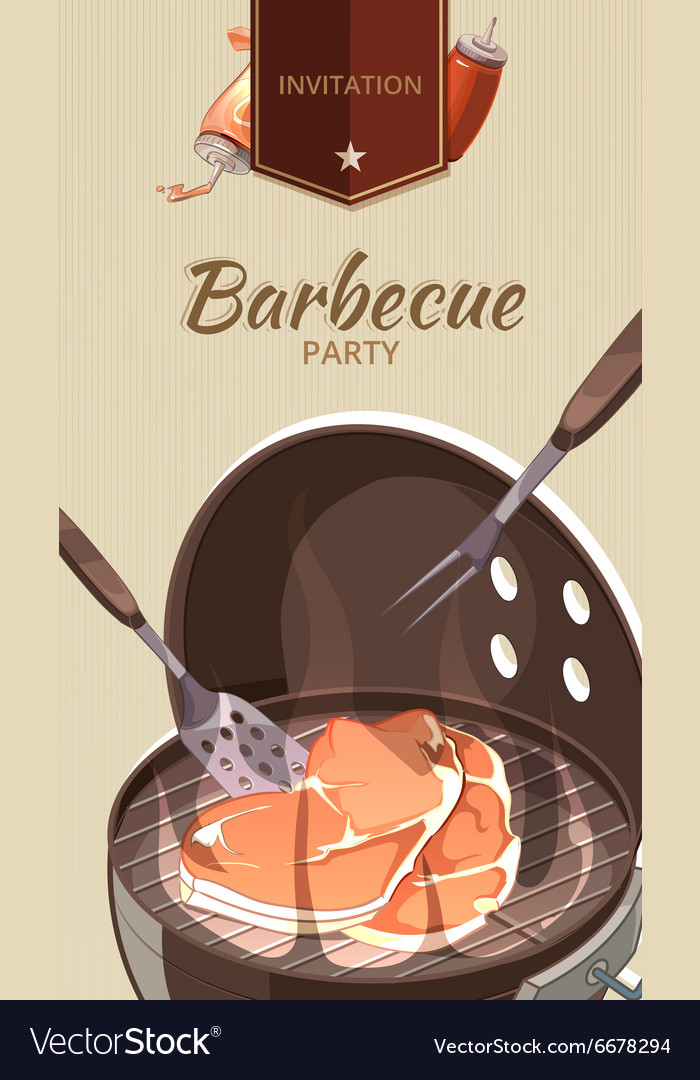 Barbecue BBQ party invitation template vector image