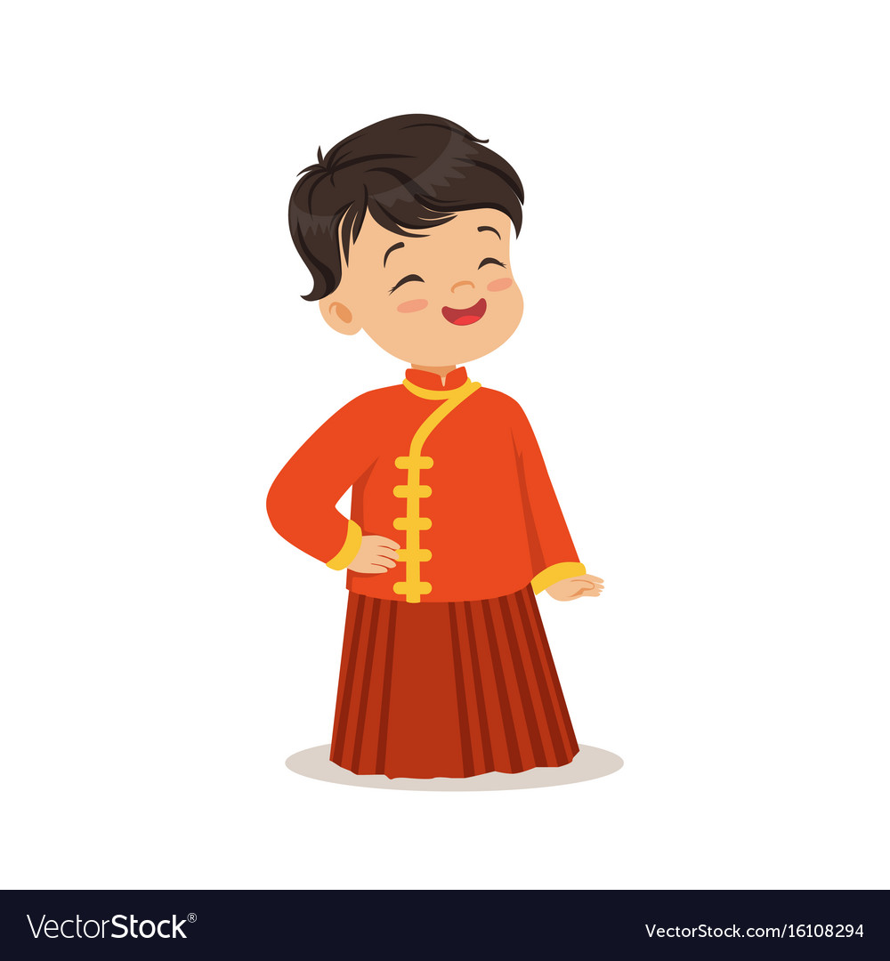 Boy wearing red national costume of china colorful vector image