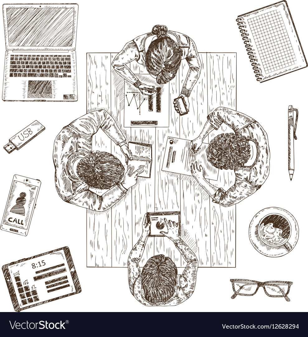 Business Meeting Sketch Concept vector image