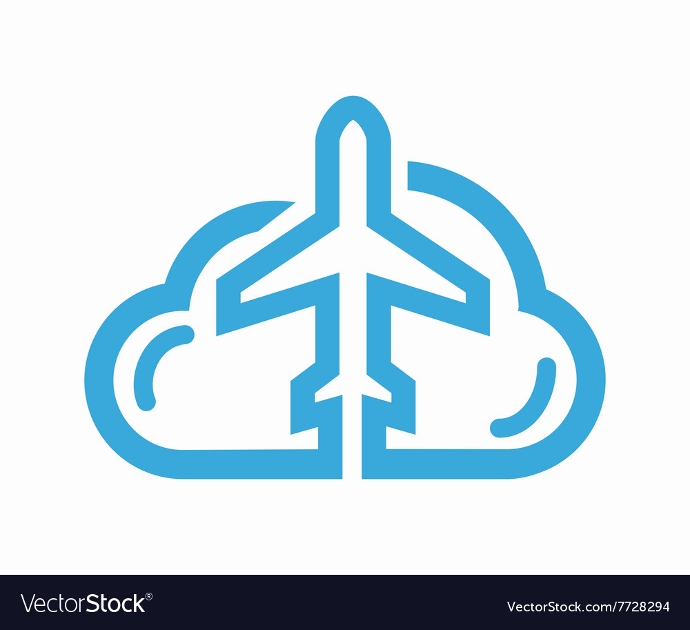 Cloud and airplane logo