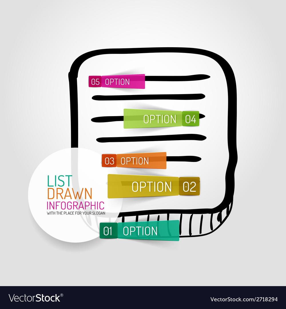 Hand drawn list design and infographics