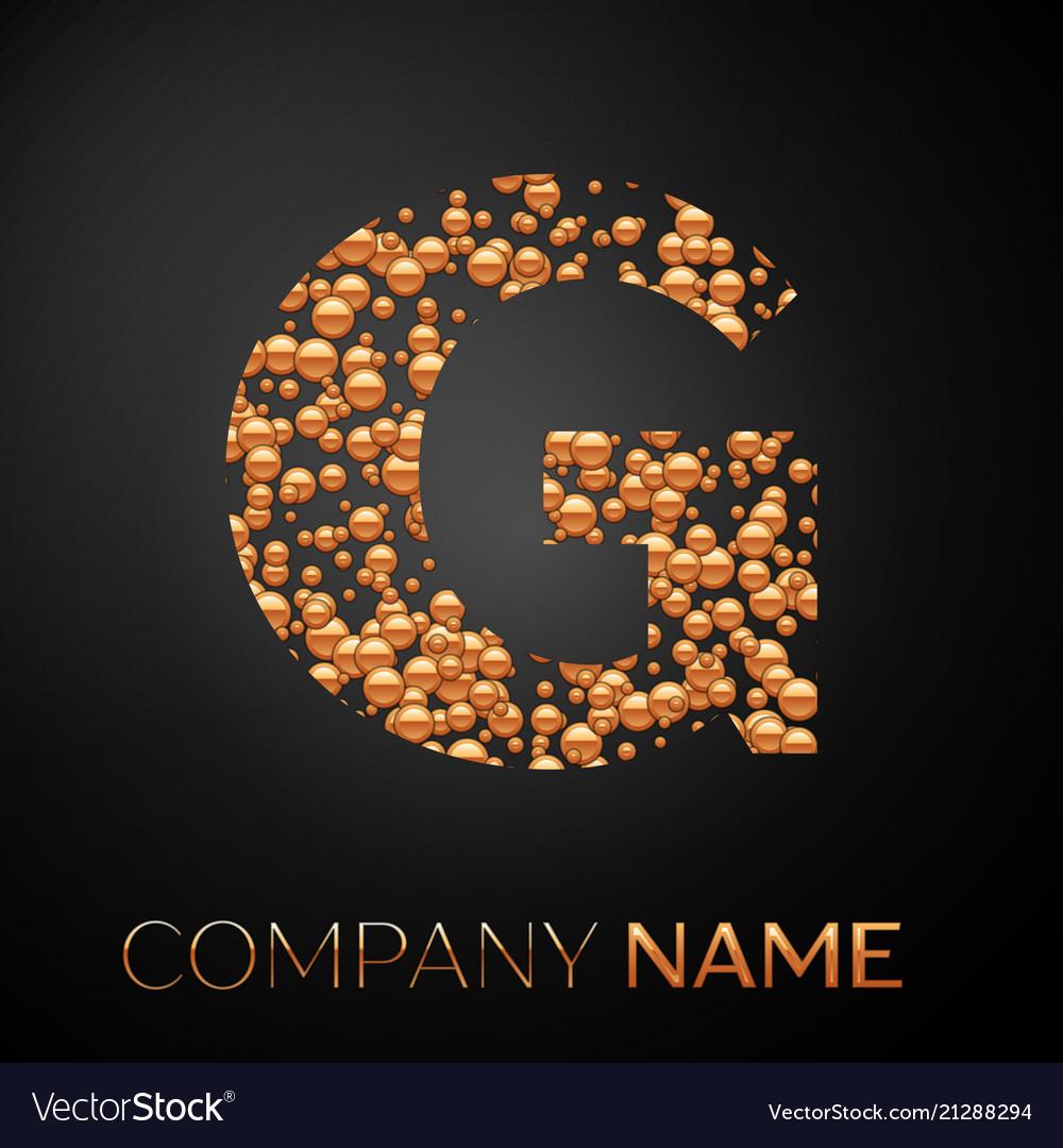 Letter g logo gold dots alphabet logotype