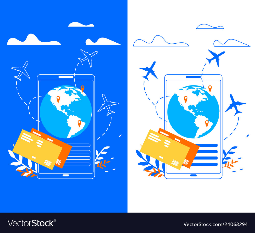 Mobile application for traveler flat banner