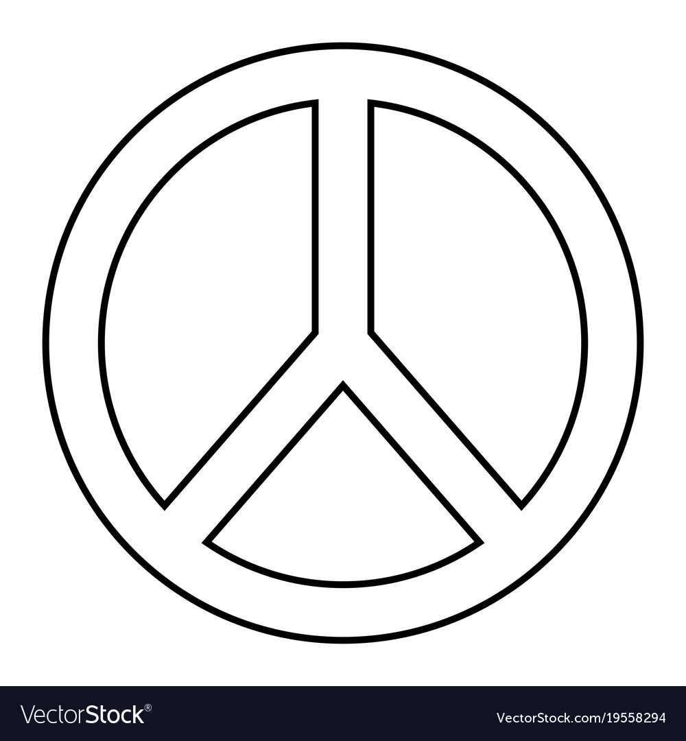 Peace And Love Symbol Outline Design Royalty Free Vector