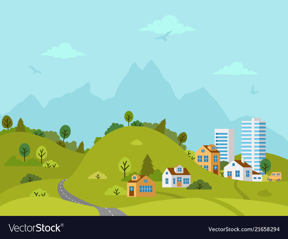 Rural hilly landscape with houses and buildings