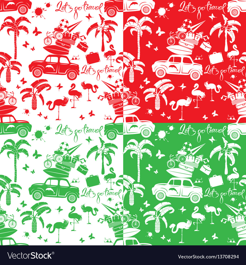 Set of seamless patterns with small retro travel
