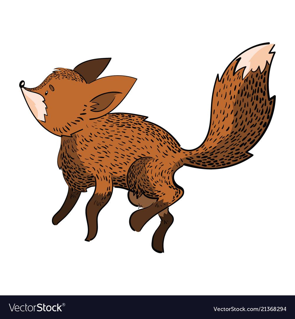 Stylized fox in a jump a cartoon fox
