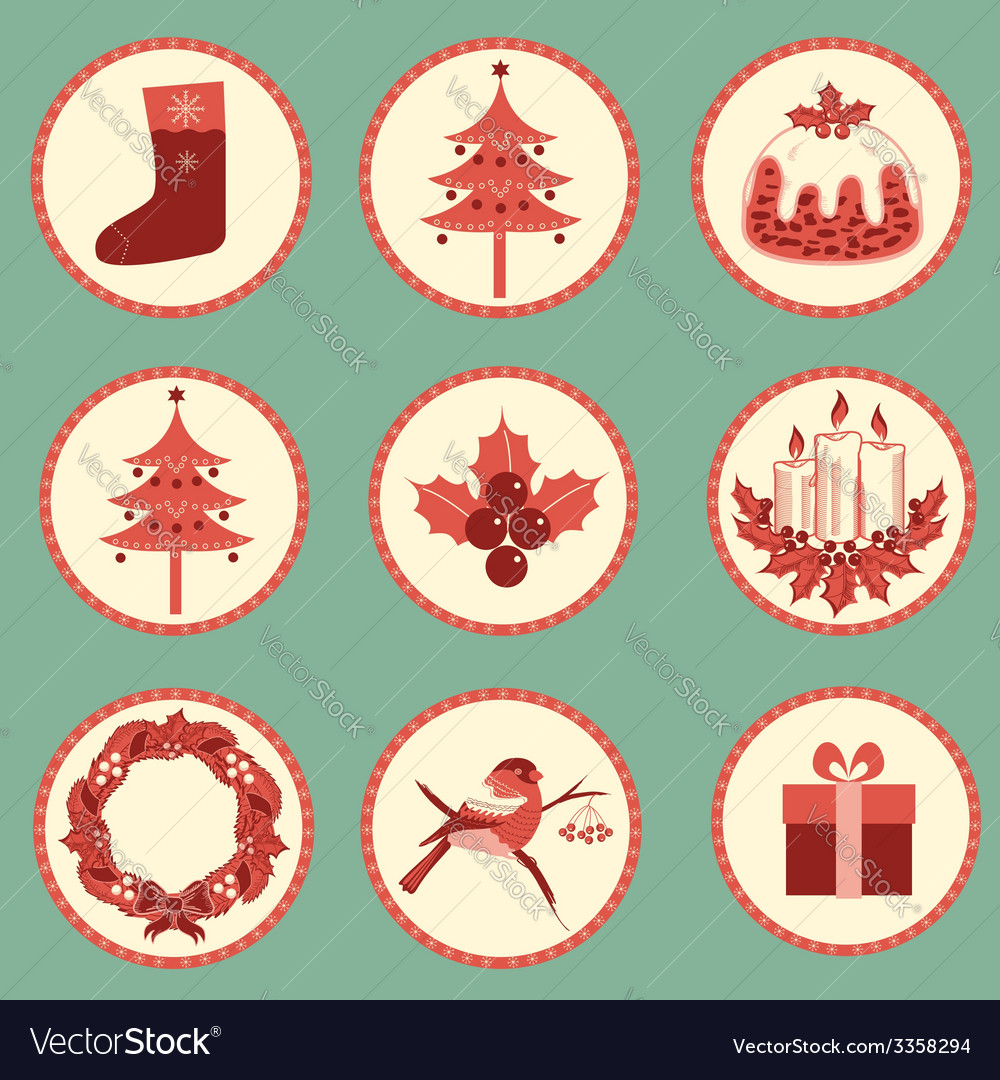 Vintage Christmas symbols isolated for design