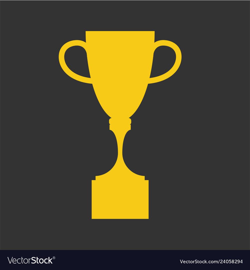 Winner cup flat icon golden symbol of win