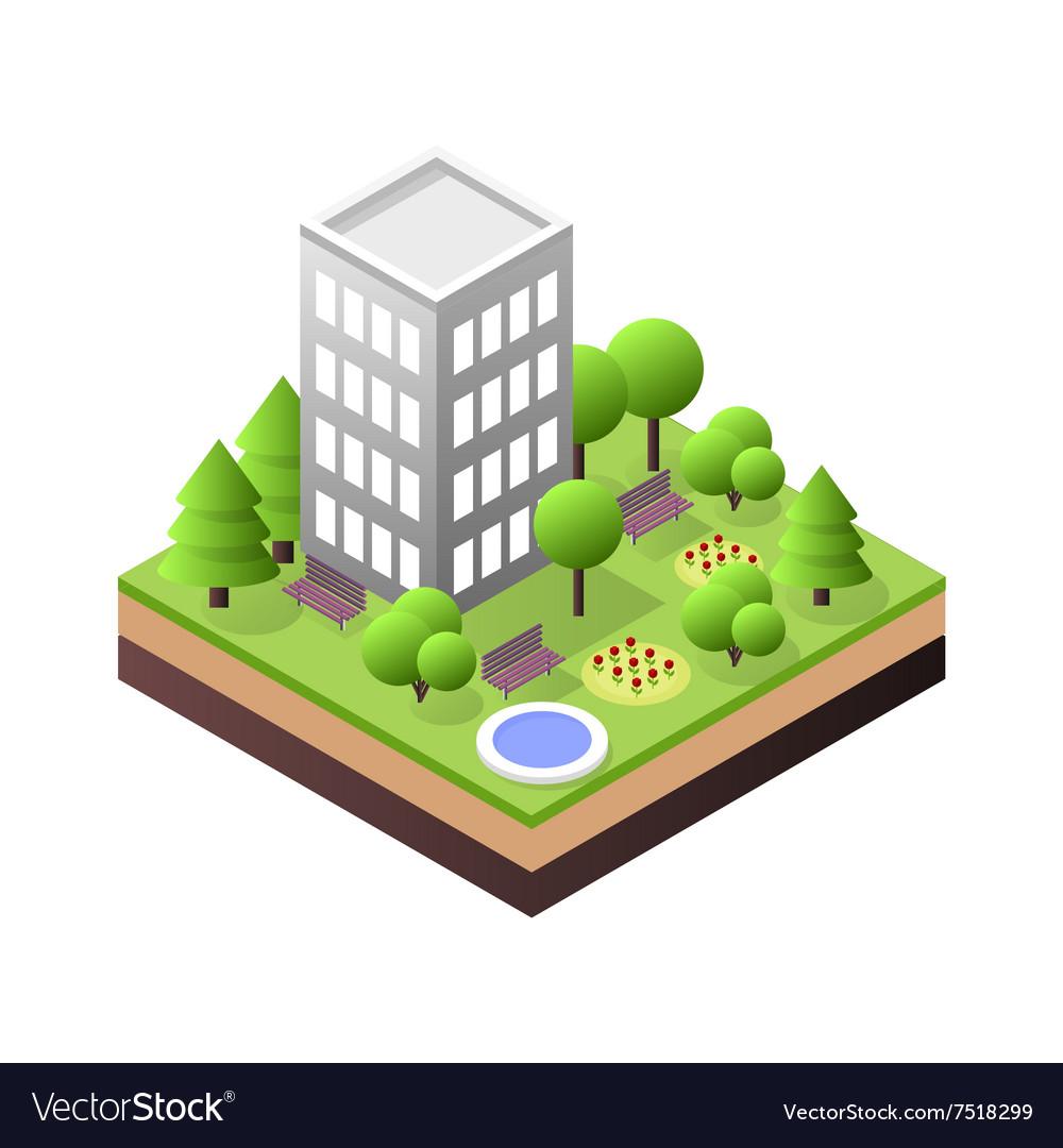 3d isometric city building block dormitory area