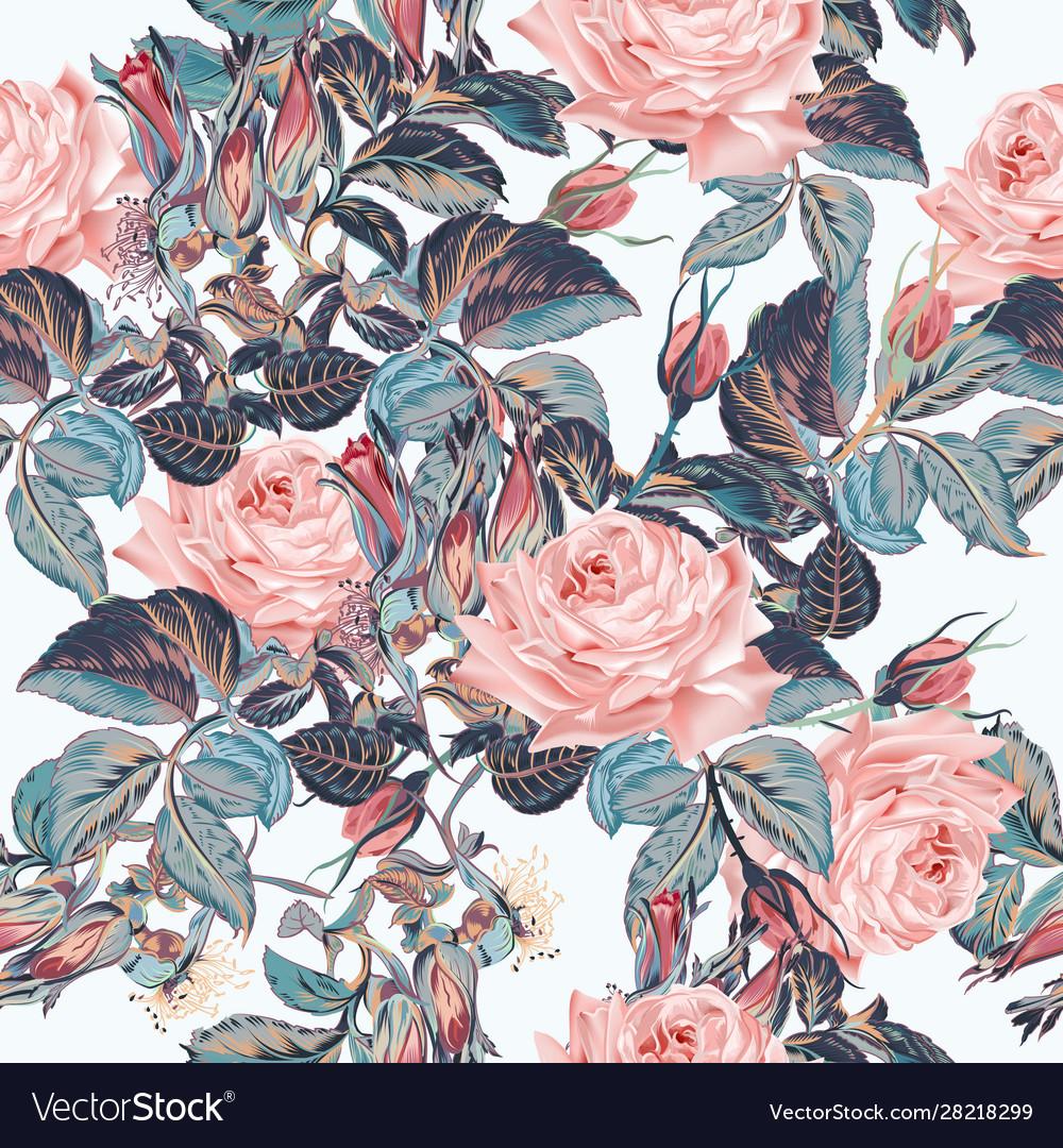 Beautiful elegant flower pattern with pink roses
