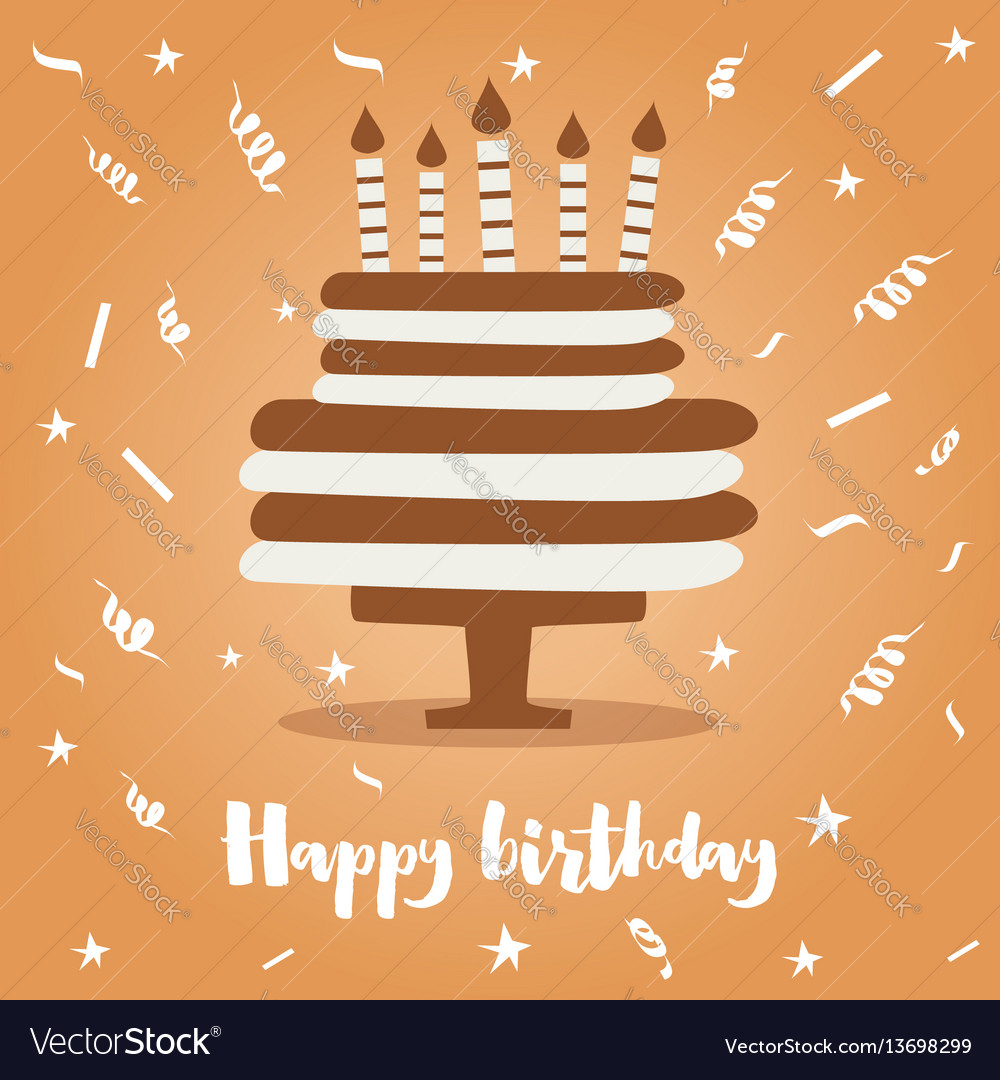 Birthday cake with candles and confetti vector image