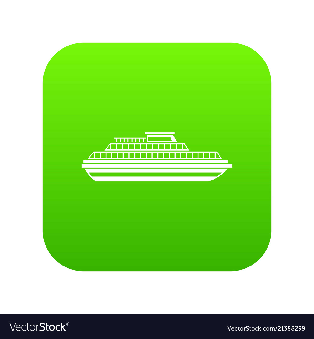 Cruise ship icon digital green