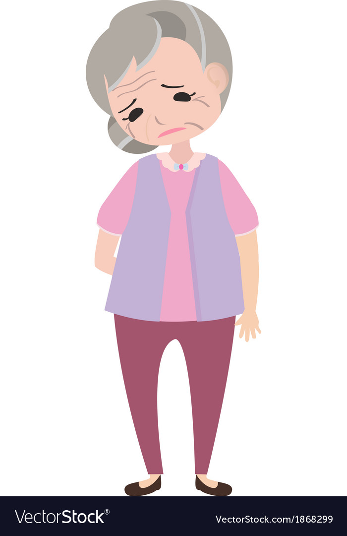Depressed old woman vector image
