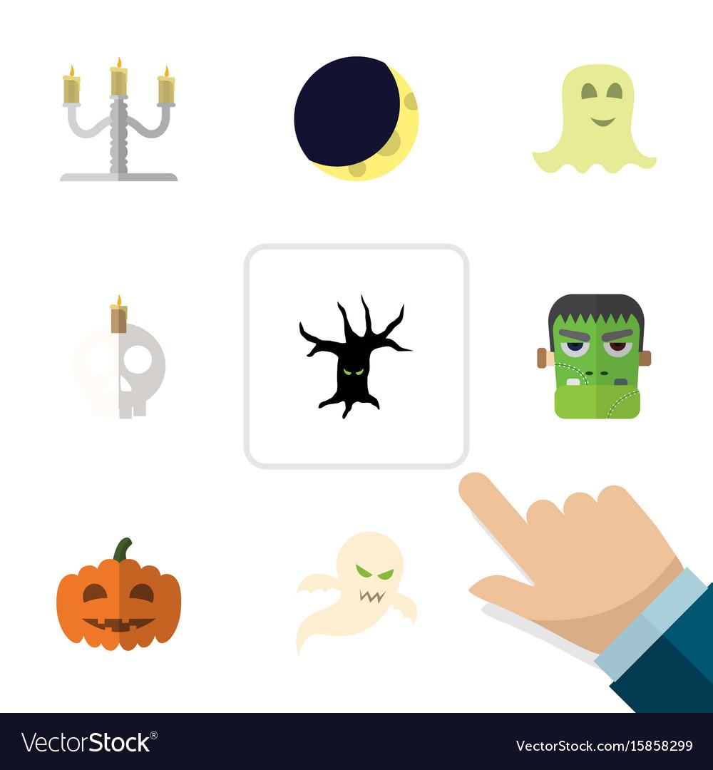 Flat icon halloween set of cranium candlestick