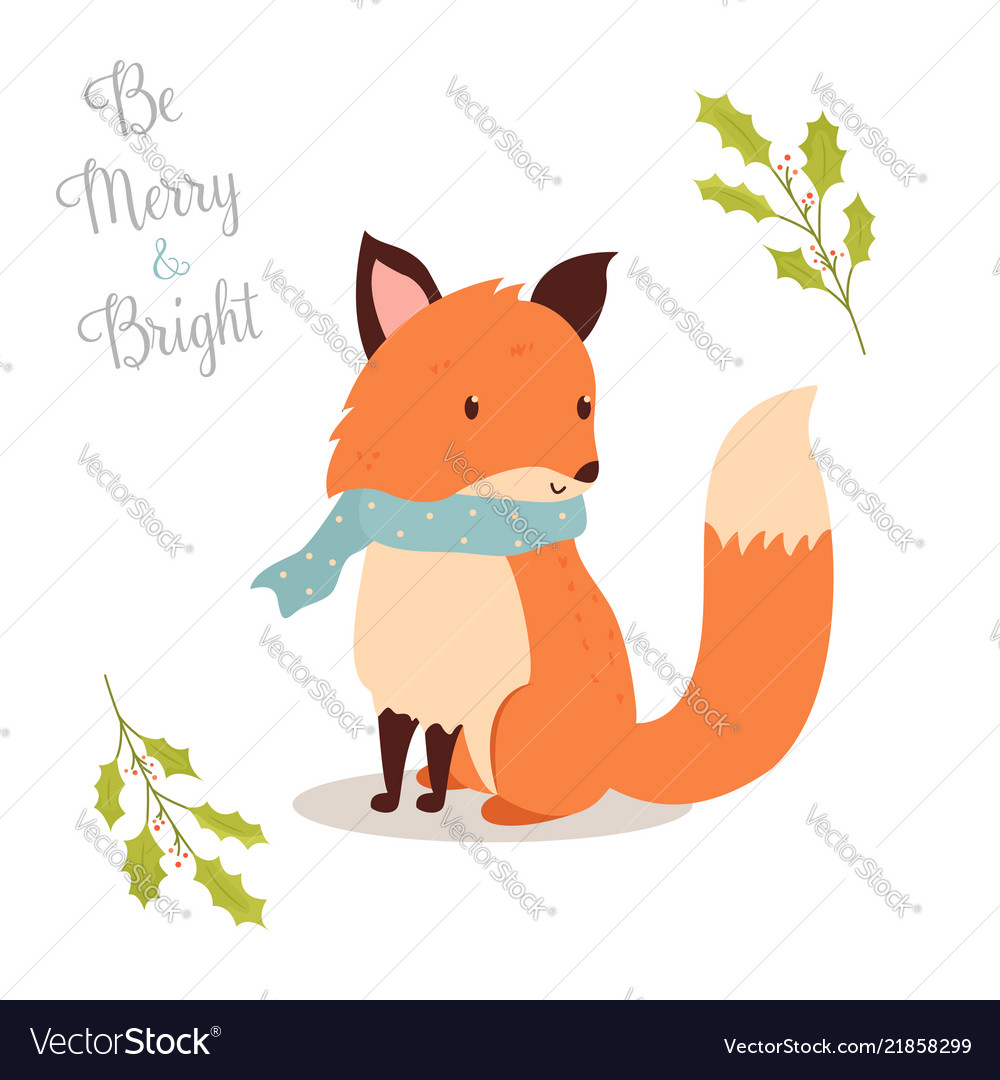 Hand drawn christmas fox in holiday scarf